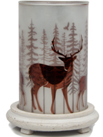 Deer Simmering Light with Antique White Base