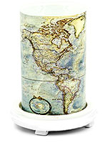 Map Simmering Light with Antique White Base