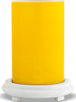 Glossy Yellow Simmering Light with Antique White Base