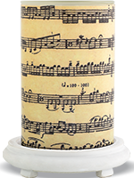 Sheet Music Simmering Light with Antique White Base