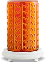 Orange Iridescent Textured Simmering Light with Antique White Base