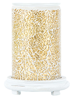 Gold Crackle Simmering Light with Antique White Base
