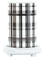 Black Plaid Simmering Light with Antique White Base