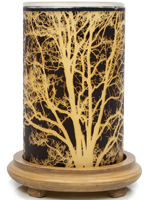 Branches Simmering Light with Wood Grain Base