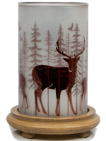 Deer Simmering Light with Wood Grain Base
