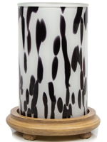 Black and White Art Glass Simmering Light with Wood Grain Base