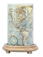 Map Simmering Light with Wood Grain Base