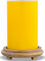 Glossy Yellow Simmering Light with Wood Grain Base