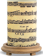 Sheet Music Simmering Light with Wood Grain Base