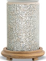 Silver Crackle Simmering Light with Wood Grain Base