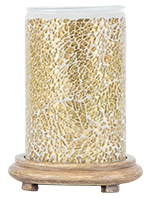 Gold Crackle Simmering Light with Wood Grain Base