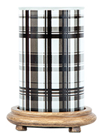 Black Plaid Simmering Light with Wood Grain Base
