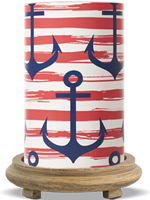 Red Anchor Simmering Light with Wood Grain Base