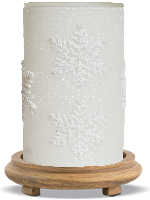 Frosted Flurry Simmering Light with Wood Grain Base