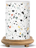 White Terrazzo Simmering Light with Wood Grain Base