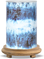 Blue Tie Dye Simmering Light with Wood Grain Base