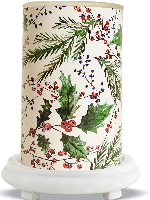 Holly Berry Simmering Light with Antique White Base