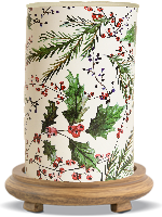 Holly Berry Simmering Light with Wood Grain Base